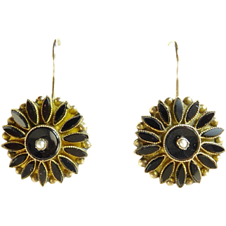 Victorian Onyx, Seed Pearl, and Gold Flower Earrings