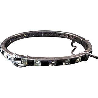 Art Deco Sterling and Paste Buckle Bangle