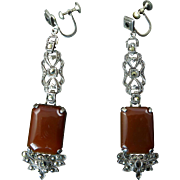 Long Art Deco Sterling Earrings with Marcasites and Carnelian
