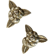 Pair of Chinese Art Deco Silver Dress Clips