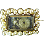 Georgian Brooch with Pearls and Hair