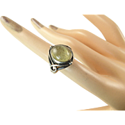 Arts and Crafts Ring with Pale Green Stone