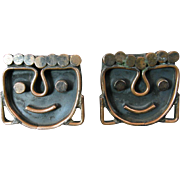 Modernist Copper Cufflinks with Stylized Faces