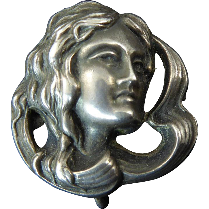 Art Nouveau Sterling Lady Head Watch Pin Lisa Kramer
