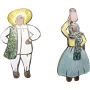 Pair of Margot de Taxco Brooches with Mexican Man and Woman