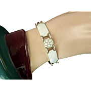 Vintage Norwegian White Enamel and Gilt Sterling Bracelet by OPRO - Ole Petter Raasch Olsen