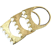 Set of Three Vintage 14 Karat Gold and Cultured Pearl Stacking Rings