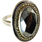 French Art Deco Hematite, Marcasite, Enamel, and Silver Ring