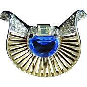 Boucher Fur Clip with Half Moon Shaped Stone