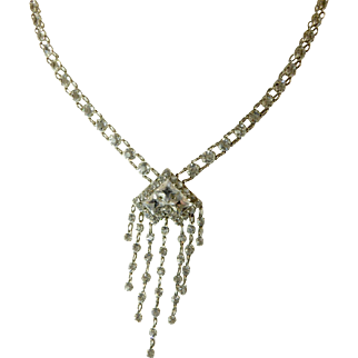 Unusual Art Deco Sterling and Crystal Necklace