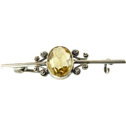 Edwardian Citrine Bar Brooch with Silver Filigree