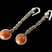Unusual Cut Steel Earrings with Faux Amber Dangles
