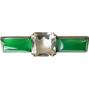 Art Deco Chrysoprase and Rock Crystal Brooch Set in Silver