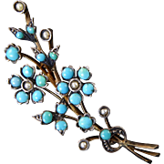 Victorian Turquoise and Seed Pearl Forget-Me-Not Brooch