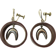 Mexican Silver and Rosewood Hoop Earrings
