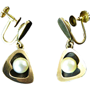 Modernist Gold and Cultured Pearl Earrings