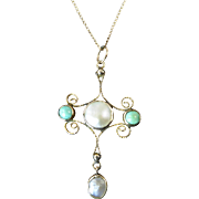 Antique Turquoise and Mother of Pearl Cross Set in 10 Karat Gold