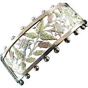 Victorian Silver Bangle with Pierced Flowers and Multicolor Gold Overlay