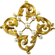 Antique 14 Karat Gold Brooch Pendant with Pearls