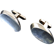 Antonio Pineda Concave Oval Sterling Cufflinks
