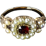 Georgian Pearl and Garnet Ring