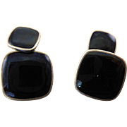 Black Enamel and Silver Cufflinks