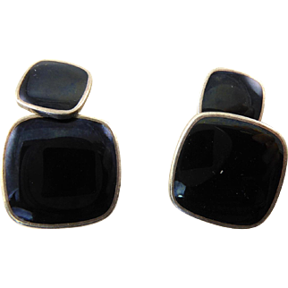 Black Enamel and Silver Cufflinks