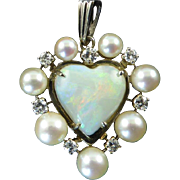 Vintage Opal, Diamond, and Cultured Pearl Heart Shaped Pendant in White Gold