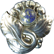 Georg Jensen Arts and Crafts Brooch 71 with Lapis