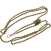 Victorian Fancy Link 14 Karat Gold Long Chain with Slide
