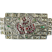 Art Deco Sterling and Paste Brooch with Rose Motif