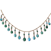 Victorian Gold Fringe Necklace With Turquoise Scarabs