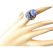 Arts and Crafts Silver Ring With Two Blue Chalcedony Stones
