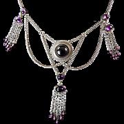 Hermann and Speck Jugendstil Festoon Necklace with Amethyst Paste Stones