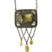 Jugendstil Silver and Citrine Necklace