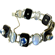 Art Deco Moonstone and Onyx Bracelet set in Sterling