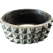Outstanding Victorian Silver Bangle with Pyramidal Studs