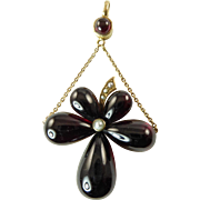 Victorian Garnet Pansy Pendant Set in 14 Karat Rose Gold