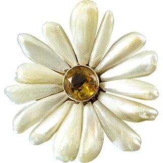 Antique Mississippi River Pearl Daisy Brooch / Pendant with Citrine Center