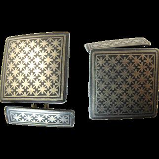 Vintage Oversized Bidriware Cufflinks