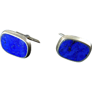 Modernist Studio Sterling and Lapis Cufflinks