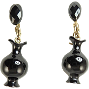 Victorian Onyx and 14 Karat Gold Mourning Earrings of Urns