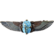Egyptian Revival Winged Scarab Brooch
