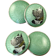 Vintage Sterling and Enamel Cufflinks with Dogs