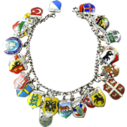 Vintage Enamel Travel Charm Bracelet with 28 Charms