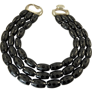 Patricia von Musulin Three Strand Necklace with Black Etched Stone Beads