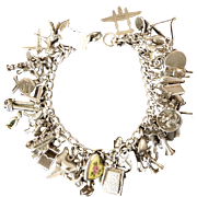 Sterling Silver Charm Bracelet with 44 Charms
