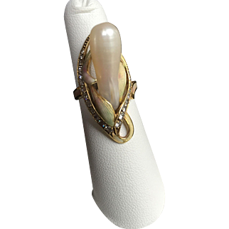 Art Nouveau Style Ring in 18 Karat Gold with Diamonds, Pearl, and Enamel