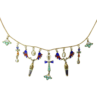 Vintage Egyptian Revival Necklace with Enameled Charms on Gilt 800 Silver