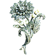 DeRosa Rhinestone and Sterling Floral Fur Clip with Faux Pearls